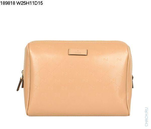 Небольшая сумочка-клатч Gucci телесного цвета из гладкой кожи