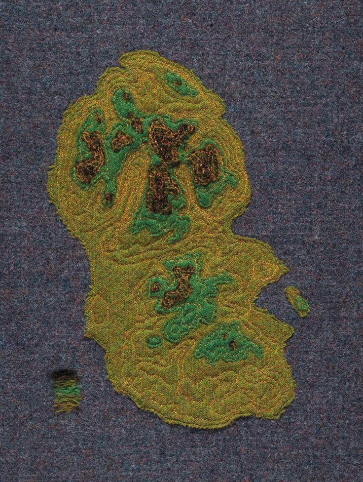 'Contours, Arran' Harris Tweed map depicting the contour lines of the Isle of Arran Scotland