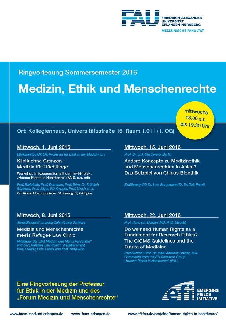 Ringvorlesung Medizin, Ethik und Menschenrechte: Ab dem 8. Juni versucht die Veranstaltung u.a. Fragen nach der medizinischen Versorgung von Flüchtlingen oder der Rolle der Menschrechte in der künftigen medizinischen Forschung zu klären. (Bild: FAU)