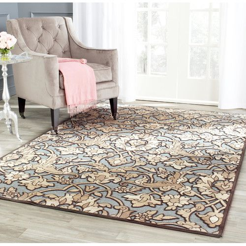 Found it at Wayfair - Berloz Soft Anthracite / Anthracite Floral Plant Area Rug