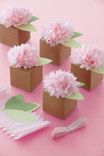 Mini Pom Pom Flower Toppers.... On Gift Boxes To give Out At