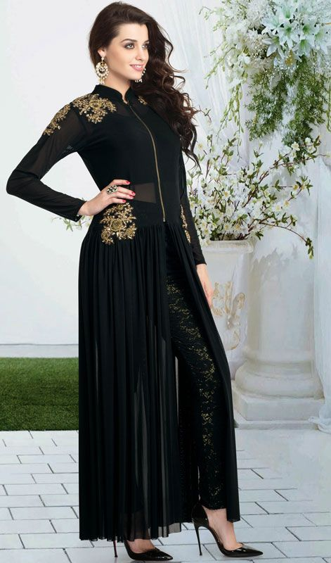 Black Net and Lycra Anarkali Dress  Be a show stopper wearing this black lycra net Anarkali dress. Kameez is beautified with embroidered floral motifs with stick on crystals placed sporadically. Zip on the placket and center slit adds to the charming look. #NewAnarkaliSuitDesigns #DesignerWearSuitsPrice