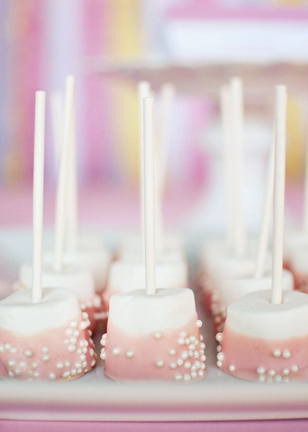 marshmallow with pink white chocolate - Pink  Yellow Twin Girls Baby Shower