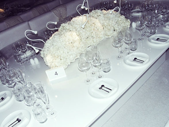 Ikea lamps used to accent hydrangea arrangement at Moncler anniversary event during Art Basel Miami
