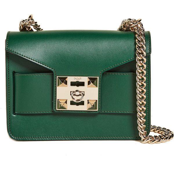 Salar Mila Cross Body Bag (2419585 PYG) ❤ liked on Polyvore featuring bags, handbags, shoulder bags, green, green crossbody, leather shoulder bag, green leather handbag, green crossbody purse and leather cross body purse
