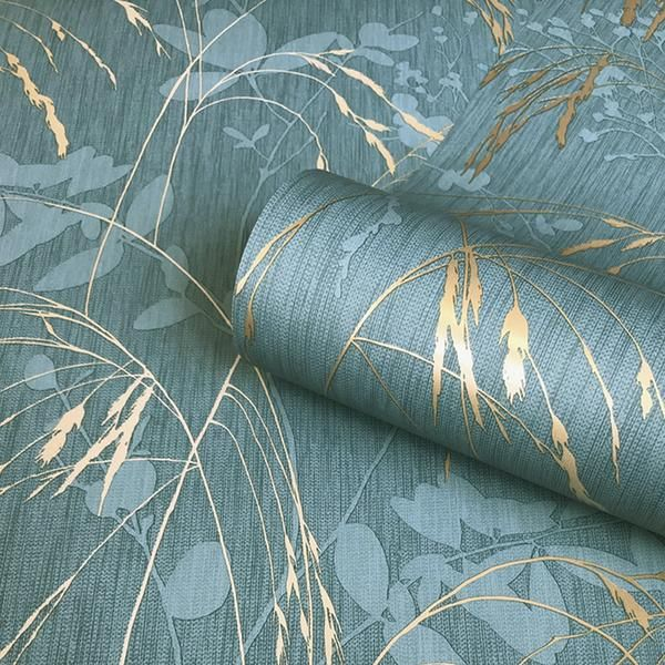 Maizie Teal Gold Luxury Wallpaper From Belgravia Decor S Maizie Collection Simple Clea Teal And Gold Wallpaper Teal Wallpaper Wallpaper Bedroom Feature Wall