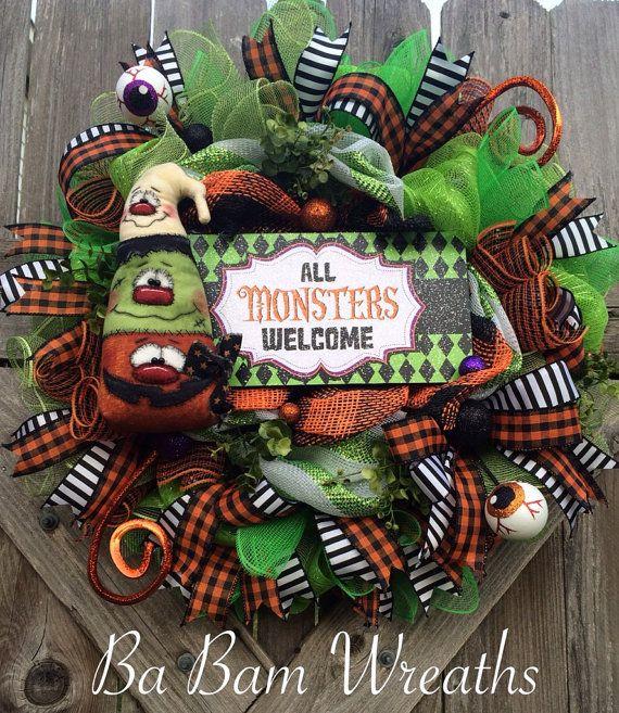 Halloween Monster Wreath, Halloween Wreath, Monster Wreath, Fall Wreath, Halloween Decor, Monsters Welcome