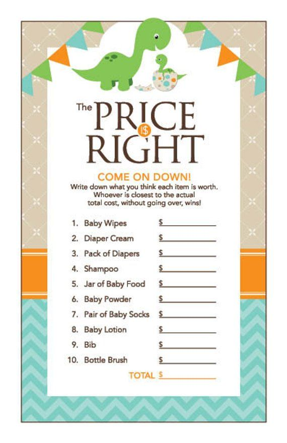 Instant Download Dinosaur Price Is Right Baby Shower Game, Dinosaur Baby Shower Games for Boy, Teal
