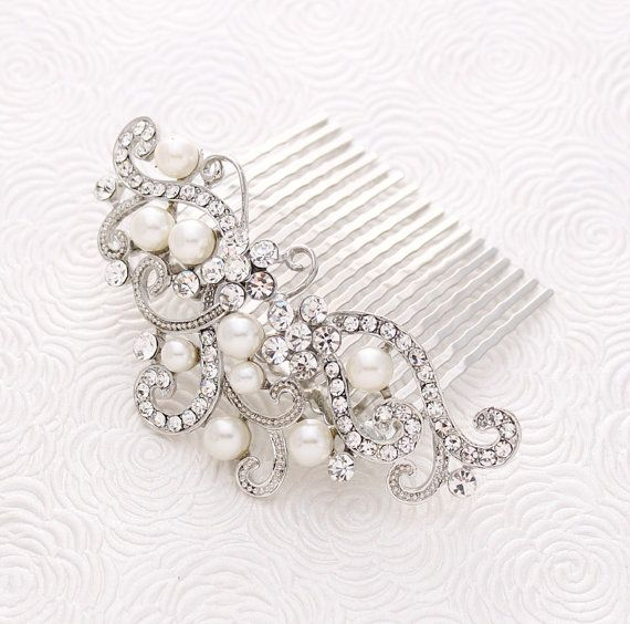 Sparkling crystal pearl hair comb. This elegant crystal pearl wedding hair comb accessory will be a very nice addition to your wedding accessories