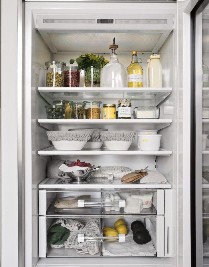Steal This Look An Organized Refrigerator Plastic Free Edition Kitchen Decor Modern Fridge Organization Modern Kitchen