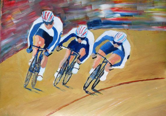 Track Cyclists at the Velodrome Original by JulianLovegroveArt, £50.00