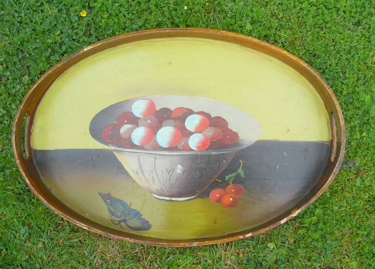 ANTIQUE VINTAGE HAND PAINTED STILL LIFE ON OVAL BENT WOOD TEA TRAY ~ SOLD ON MY EBAY SITE LUBBYDOT1