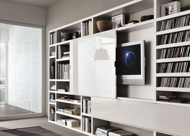 Mueble modular de pared composable lacado crossing for Muebles bibliotecas para living