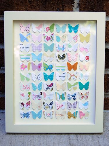 A fun way to reuse your old greeting cards -- cut them into butterfly shapes and frame them. #crafts #diy #frames
