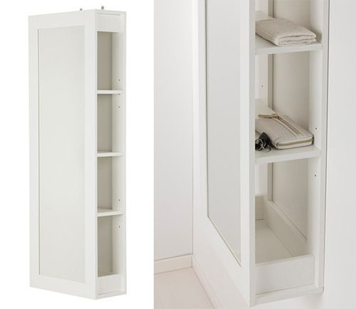 Organize a corner space. Has a mirror on the side!!! brimnes-mirror-with-storage-white-ikea