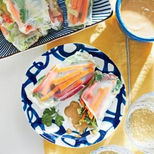 Our Best Portable Appetizers | Veggie Spring Rolls with Cashew-Ginger Dipping Sauce  | MyRecipes.com