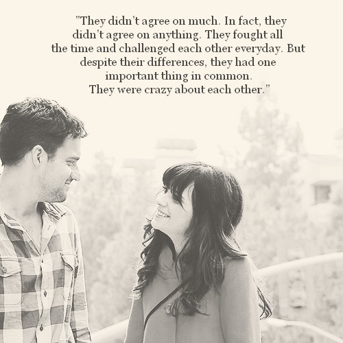 . Notebook quote, New Girl photo. Love.