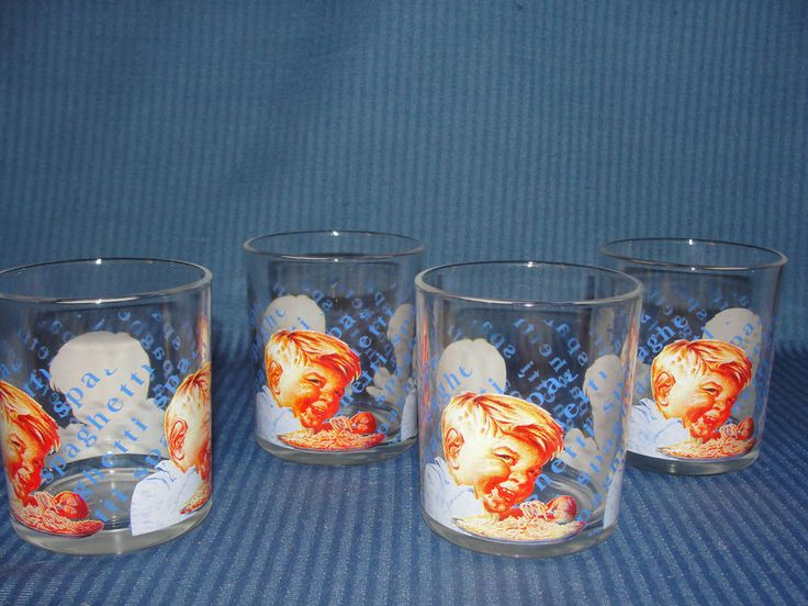Van Camp Glasses 4 Van Camp's Glassware Boy Spaghetti Cups  Vintage  #VanCamps
