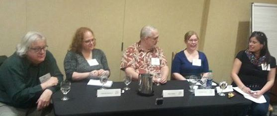 """Senior Editor Runte at CanCon in Ottawa, Oct 31, 2015, on the """"How to Pitch"""" panel with four other editors; one of six panels/workshops/ readings in which Robert participated at the convention."""
