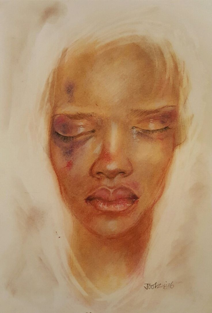 'You Bring It On Yourself Bitch'. Chalk pastels on A3 watercolour paper. Part of the art/protest project The Women highlighting violence against women. Joolz Denby.