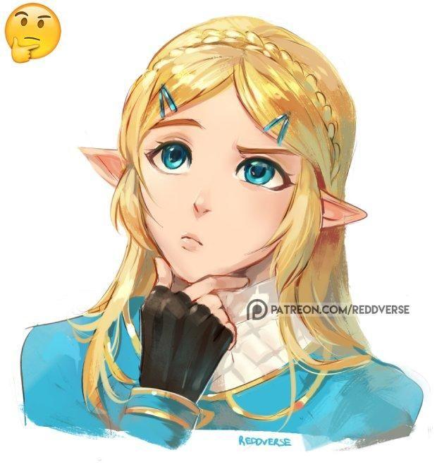 Zelda Thinking Thinking Face Emoji Legend Of Zelda Princess Zelda Breath Of The Wild