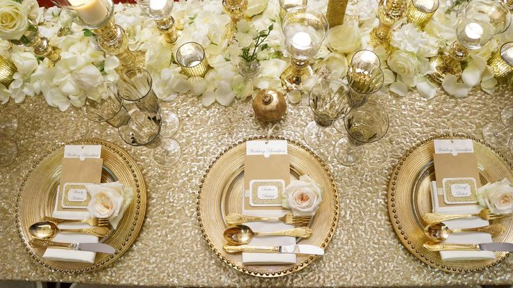 #gloswed event gold sequin tablecloth, gold charger plates ...