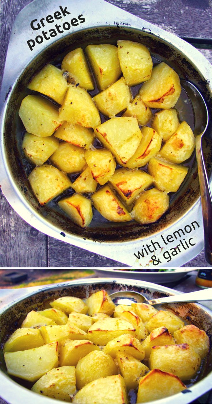Easy to make, lemony, garlicky, golden Greek potatoes. A taste of the Mediterranean that's a delicious side dish for the summer or any time of year. #potatoes #sidedish #easyrecipe