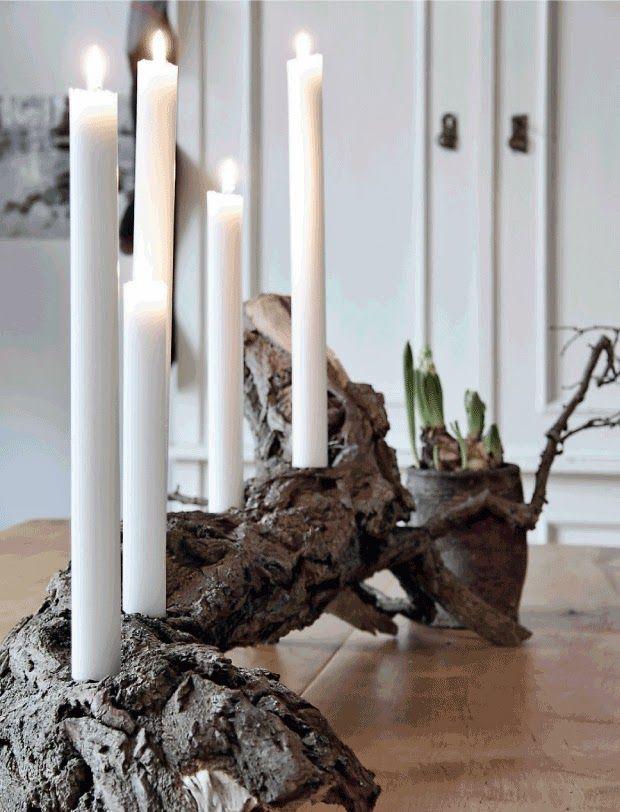 rustic wood candlestick