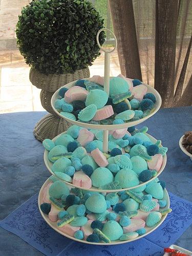 vraiment très joli,ce plateau de bonbon bleu