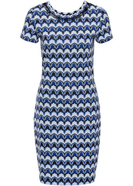 Bonprix Jurk, BODYFLIRT, royalblauw/ijsblauw/zwart 1970s knitted print blue and black dress