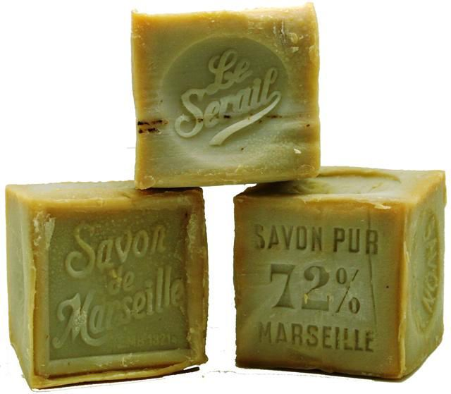 Savon de Marseille  This is the only true Savon de Marseille traditional French soaps which are handmade using a minimum of 72% olive oil and sea water from the Mediterranean Sea.