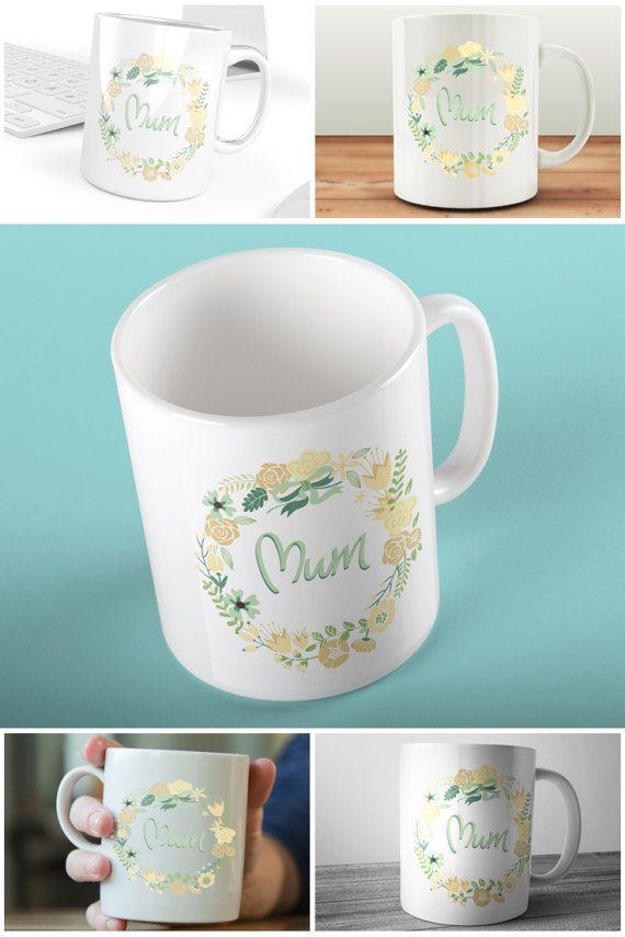 Floral Wreath Mum Mug  #prandski #personalisedmugs #mothersday #giftformum #mumsday #etsy