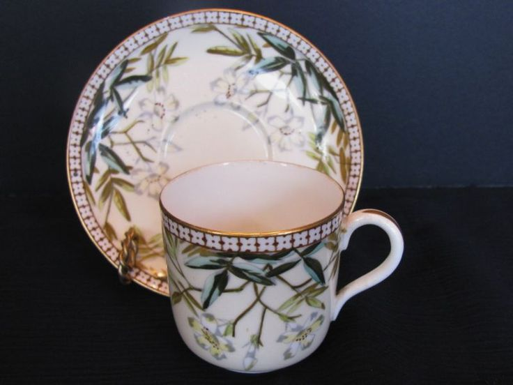 Bodley China Cup & Saucer, Antique 19th C English Staffordshire