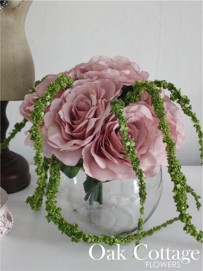 Blush Pink Tudor Rose Silk Flower Arrangement Handmade In Kent