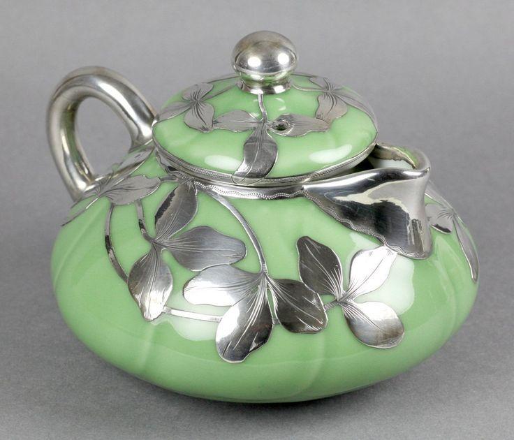 Antique Shreve & Co Silver Overlay Oriental Porcelaine Teapot, c. 1905