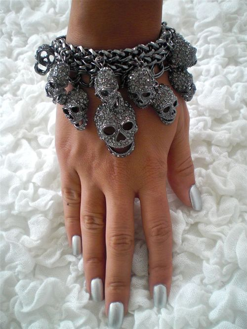 Awesome gunmetal skull bracelet with black diamond crystals.     Source: http://www.ahalife.com/product/1256/skull-bracelet/
