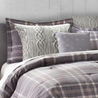 Cuddl Duds 6 Piece Gray Plaid Flannel Comforter Set Comforter