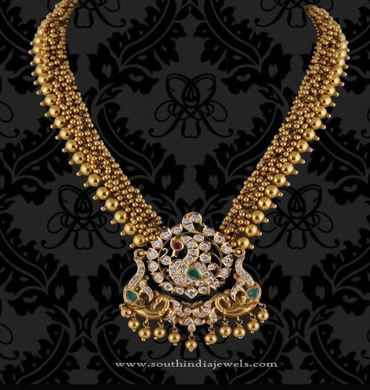 Gold Antique Necklace Designs, 22K Gold Antique Necklace Models, Gold Antique Peacock Necklace Designs.