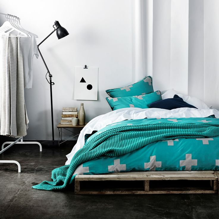 AURA Home, Winter 2014, Crosses Quilt Cover in Jade. Would love for my two boys new room....