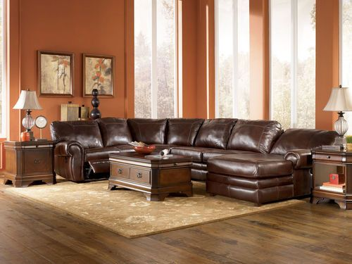 Sherwood genuine leather recliner sofa couch chaise for Ashley furniture leather sectional with chaise