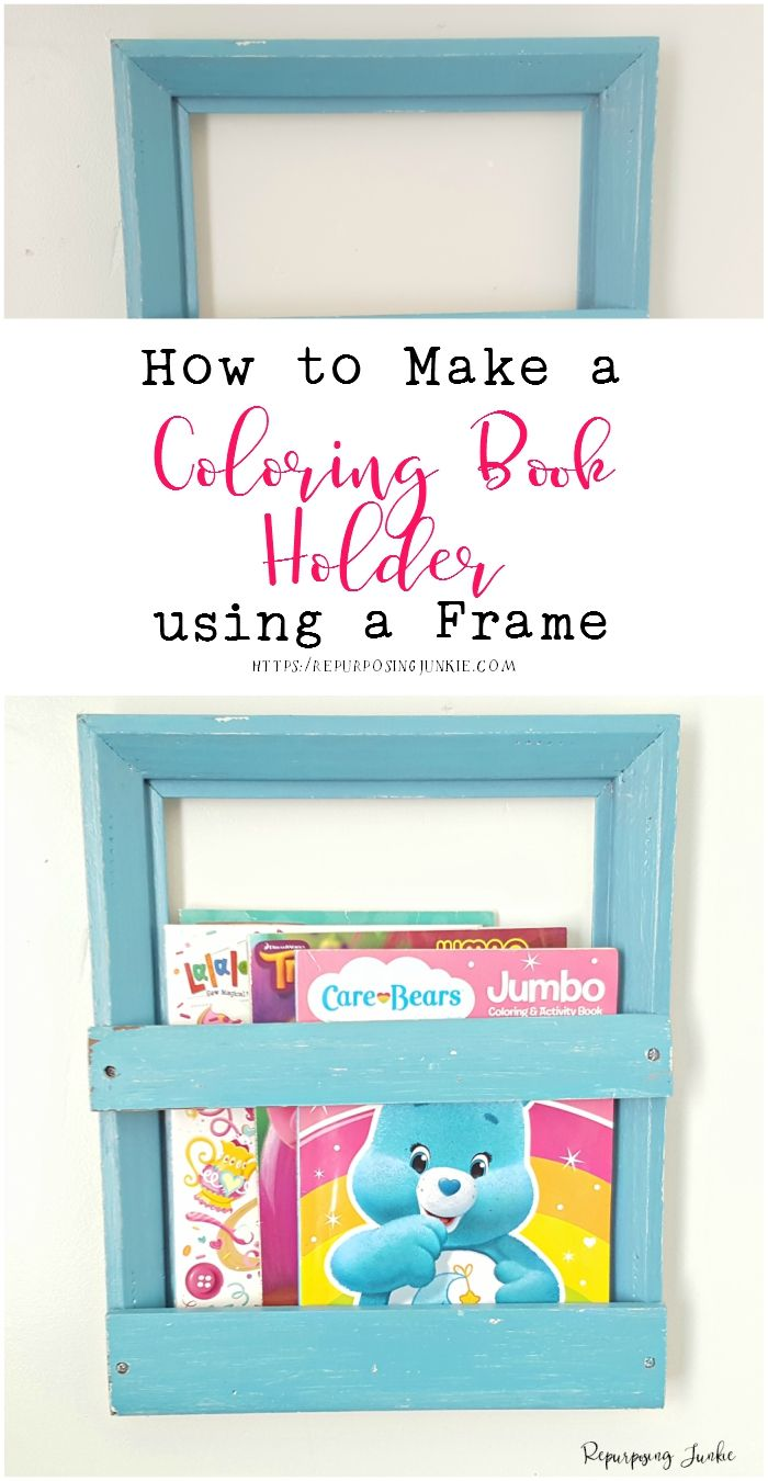 How To Make A Coloring Book Holder Using A Frame Diy Coloring Books Book Holders Coloring Books