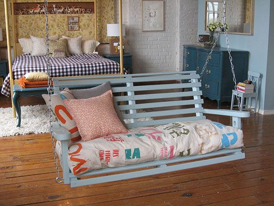 Oh my goodness I love porch swings so much. I would absolutely put one in my bedroom.