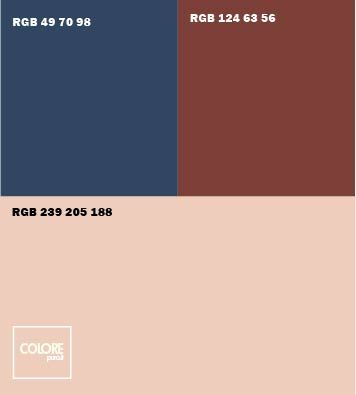 Abbinamento colori grigio caldo  azzurro marrone