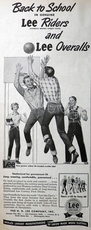 old lee jeans ads | 1950 Vintage Lee Riders Jeans & Overalls Ad, Vintage Clothing ...
