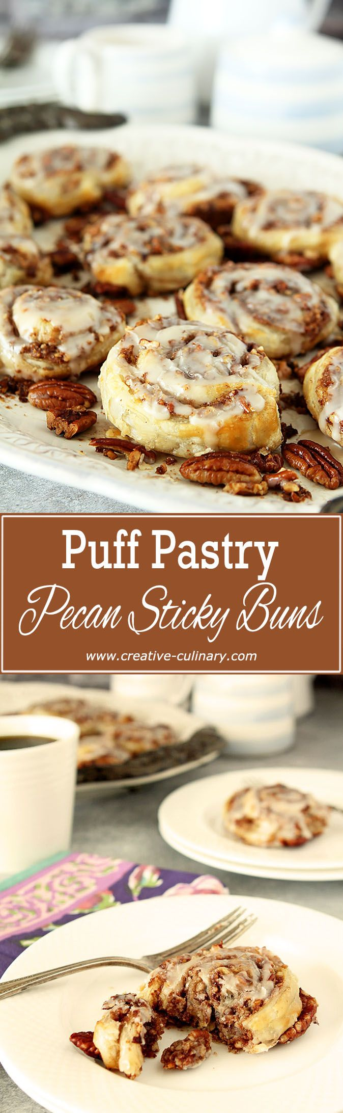 Enjoy these Puff Pastry Pecan Sticky Buns with Maple Bourbon Glaze in no time at all...the puff pastry makes them SO simple! via @creativculinary