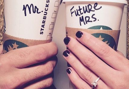 Cute way for coffee lovers to announce their engagement on social media!