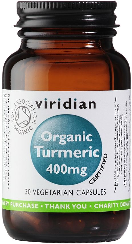 Viridian Organic Turmeric 400mg Certified Organic by the Soil Association. Turmeric is a perennial herb of the ginger family that is extensively cultivated in India, China, Indonesia and other tropical countries. In Ayurvedic medicine Turmeric was prescribed for the treatment of many conditions including poor vision, rheumatic pains, coughs and to increase milk production in nursing mothers. Vegan.