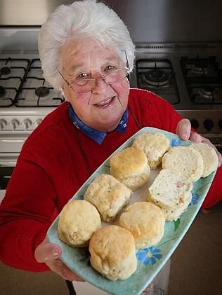 CWA Geelong judge Margaret Primmer with prize-winning scones on show at CWA Geelong Group