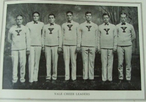 "yaleFormer president George W. Bush was the head cheerleader for Phillips Academy Andover in Massachusetts.  Ronald Reagan, ""The Gipper"" himself, was a cheerleader at Eureka College.  Dwight D. Eisenhower was actually a cheerleader at West Point Academy.  And Franklin D. Roosevelt, in a sad twist of irony, was actually a cheerleader at Harvard in the early part of the 20th century, long before polio befell him."