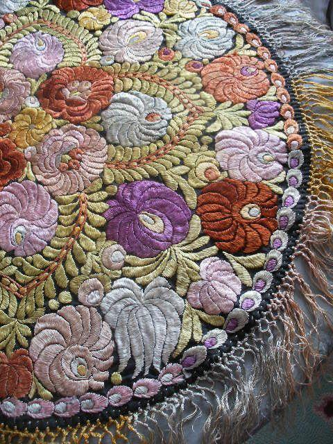 Hungarian Matyo embroidered tablecloth